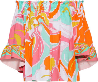 Emilio Pucci Off-the-shoulder Printed Cotton-broadcloth Blouse