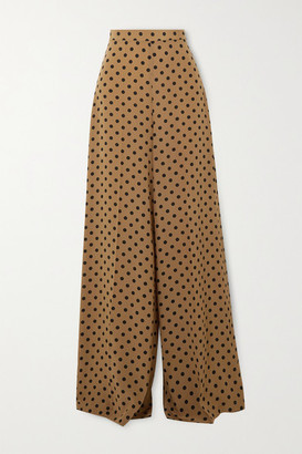 Michael Kors Collection Polka-dot Silk Crepe De Chine Wide-leg Pants - Beige