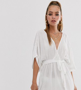 Asos DESIGN Petite plunge tie waist kimono sleeve crinkle beach cover up in white