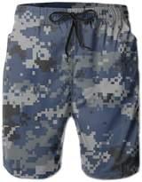 ZhongXiaoStyle Fashion Dark Blue Navy Camouflage Men's Swim Trunks With Pockets