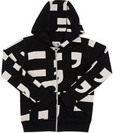 Nununu Punctuation-Print Cotton Hoodie-BLACK