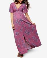 Motherhood Maternity Twist-Front Maxi Dress