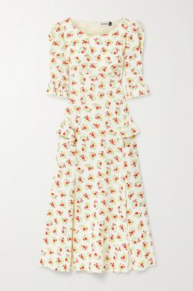 Rixo Quinn Ruffled Floral-print Cotton Midi Dress - Ecru