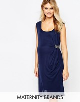 Mama Licious Mama.licious Mamalicious Ruched Front Dress With Embellishment