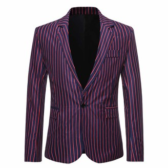 YOUTHUP Mens Stripe Blazer Slim Fit Vertical Stripes Suit Jacket 1 Button Business Dress Jackets Navy