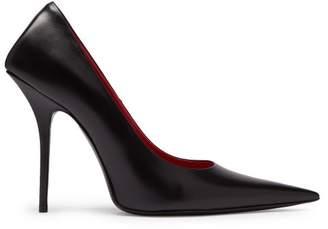 Balenciaga Square Knife Leather Pumps - Womens - Black