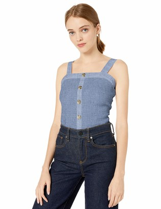 Amy Byer A. Byer Womens Button Front Smocked Top