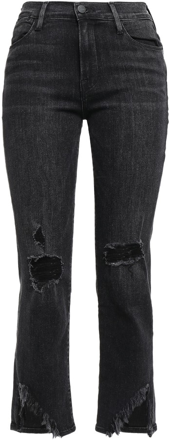 Frame Distressed High-rise Straight-leg Jeans