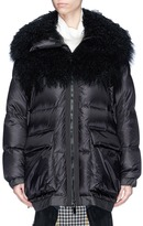 Sacai Faux fur trim quilted down coat