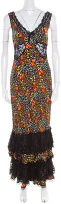 Dolce & Gabbana Multicolor Floral Print Silk Sheer Lace Insert Sleeveless Maxi Dress M