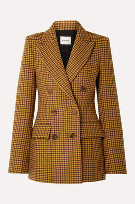 KHAITE Darla Checked Wool Blazer - Yellow