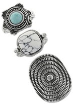 Women's Ring Trio with Cushion Matrix Stone, Textured Oval, and Textured Round Casting with Stone-Silver Ox