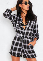 Missy Empire Marla Black And White Check Playsuit
