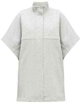 Stella McCartney Logo Jacquard-trim Wool Cape - Womens - Grey