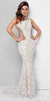 Terani Couture Jewel Embellished Open Back Lace Dress
