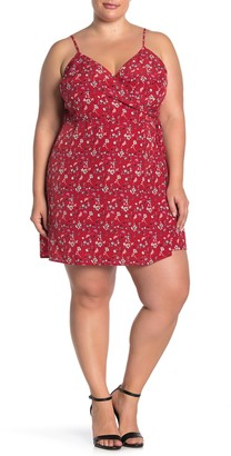 Sanctuary Wrap Patterned Mini Dress (Plus Size)