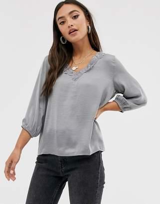 JDY Appa 3/4 sleeve blouse-Grey