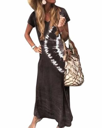 Onsoyours Summer Maxi Dresses Short Sleeve V Neck Gradient Striped Color Block Boho Long Beach Dress Plus Size for Women B Dark Blue 20