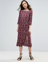 Vero Moda Printed Midi Dress With Split