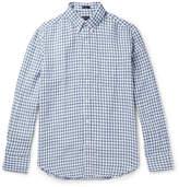 J.Crew Slim-fit Button-down Collar Gingham Slub Linen Shirt - Blue