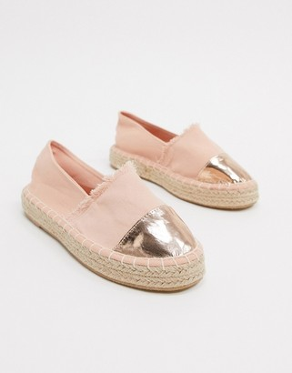 South Beach metallic toe cap espadrilles