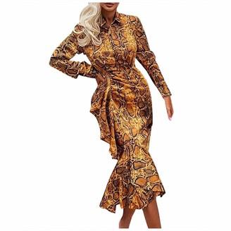 Younthone Women's Slim Dress Leopard Print Long Sleeve Casual Dress Party Ruffled High Waist Skirt Elegant Lady Temperament Ball Gown Birthday Present(Yellow UK:14/XL)