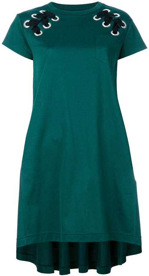 Sacai laced shoulder T-shirt dress