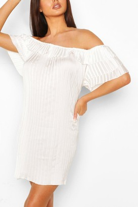boohoo Pleated Ruffle Sleeve Smock Dress