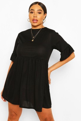 boohoo Plus Soft Rib Ruffle Smock Dress