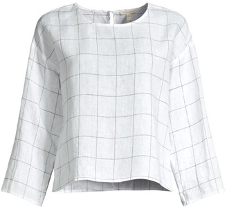 Eileen Fisher Grid Check Organic Linen Top