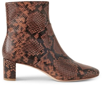 Loeffler Randall Cynthia Snakeskin-Embossed Leather Ankle Boots