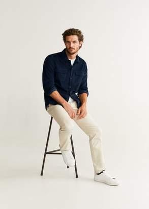 MANGO MAN - Regular fit pocket corduroy shirt dark navy - XS - Men