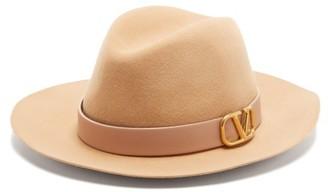 Valentino V-logo Felt Fedora Hat - Beige
