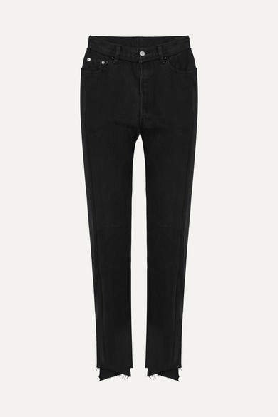 Vetements + Levi's Distressed High-rise Straight-leg Jeans - Black