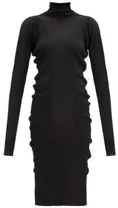 Bottega Veneta Roll-neck Rib-knitted Cotton-blend Sweater Dress - Black