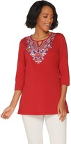 Denim & Co. Round Neck with Keyhole Embroidered 3/4 Sleeve Tunic