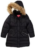 Catherine Malandrino Faux Fur Trimmed Hooded Long Bubble Jacket (Big Girls)