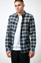 Globe Dock Plaid Flannel Long Sleeve Button Up Shirt