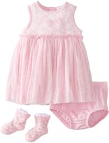 Petit Lem Baby-Girls Newborn Sparkling Roses Baby Dress and Diaper Cover