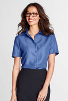 Lands' End Women's Regular Short Sleeve Micro Herringbone Camp Shirt