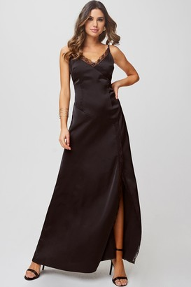 Little Mistress Hanna Black Satin Lace-Trim Maxi Dress