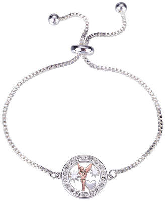 Disney Collection Tink Bolo Brclt Pure Silver Over Brass 9 3/4 Inch Solid Box Tinker Bell Bangle Bracelet