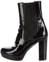 Prada Sport Patent Leather Round-Toe Ankle Boots