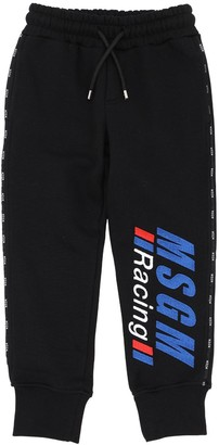 MSGM Logo Embroidered Cotton Sweatpants