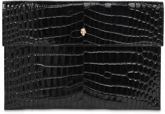 Alexander McQueen Croc Embossed Leather Clutch
