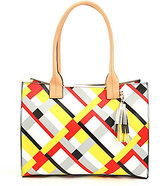Kate Landry Cabana Tasseled Plaid Tote