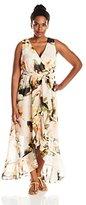 Sangria Women's Plus-Size Floral-Print Chiffon Maxi Dress