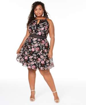 BCX Trendy Plus Size Embroidered Fit & Flare Dress, Created for Macy's