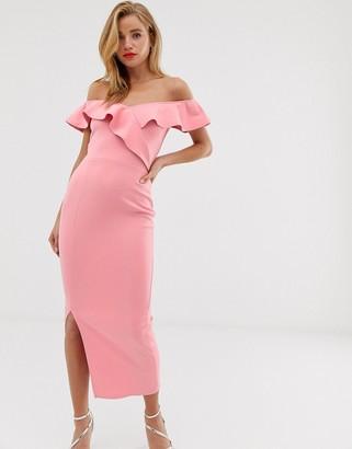 True Violet off shoulder midaxi dress with drape frill