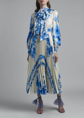 Valentino Long Sleeve Ceramic-Print Dress w/ Pleated Skirt
